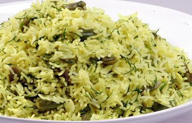 أرز بالشبت والفول الأخضر