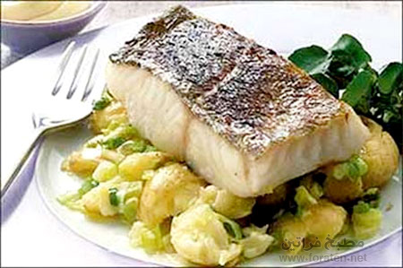 'سمك مشوي بالبطاطا