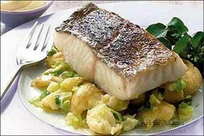 سمك مشوي بالبطاطا
