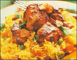 الأرز بالجوز والدجاج